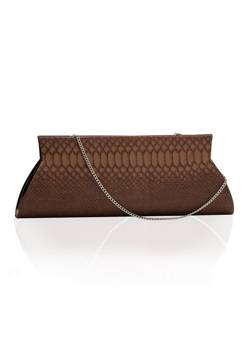 Brown Snake Skin Chain Clutch